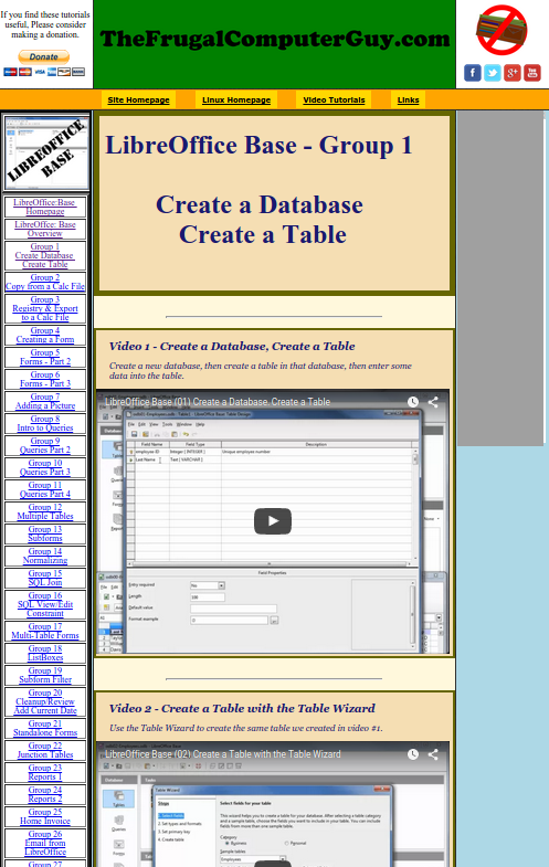 Picture of a video tutorial series homepage